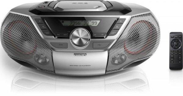 Philips AZ783/12 - boombox - srebrny - CD - radio - USB