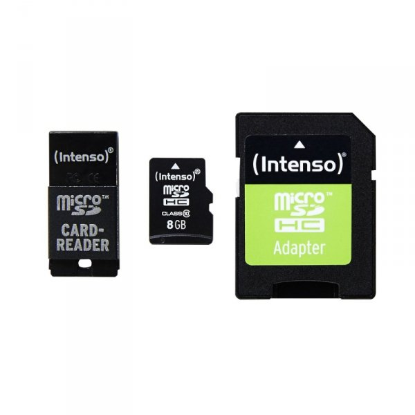 Intenso Micro SD-HC Karte 8GB Class10 inkl. SD-/USB-Adapter