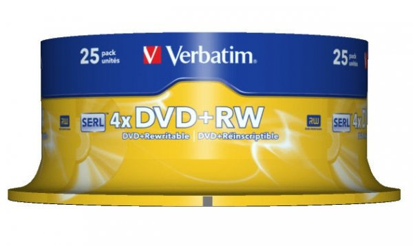 Verbatim DVD+RW 4,7 GB 4x, 25 szt.