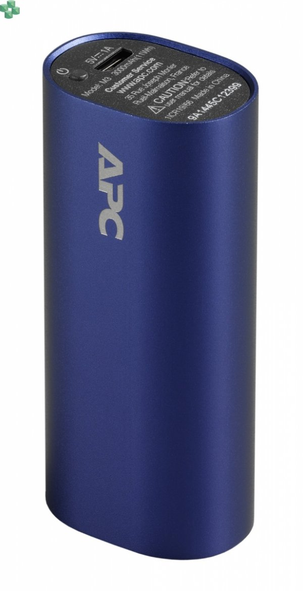 M3BL-EC Przenośny akumulator APC Mobile Power Pack, 3000 mAh litowo-jonowe ogniwa cylindryczne, niebieski