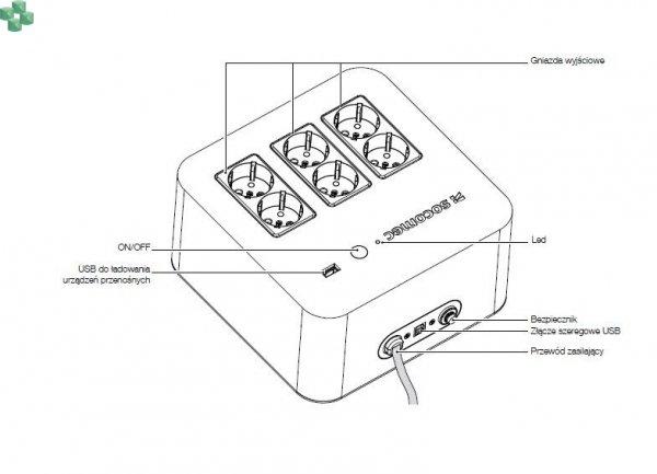 NPL-0600-F UPS NETYS PL 600VA/360W (USB Gniazda PL/FR)