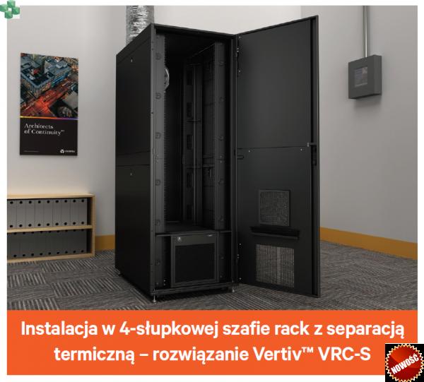"""VRC102 Klimatyzator precyzyjny VERTIV VRC (Self Contained), do szafy rack 19"""" o głębokości 1200 mm."""
