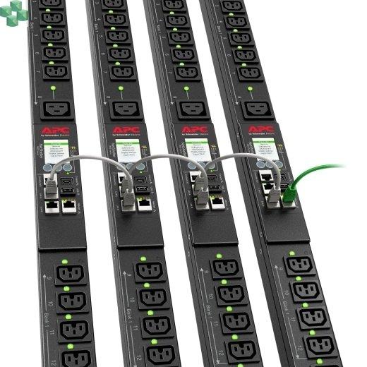 APDU9959EU3 Zarządzana listwa zasilająca PDU 9000 do montażu w szafie, zero U, 16 A, 230 V, (21) C13 i (3) C19, kabel IEC309