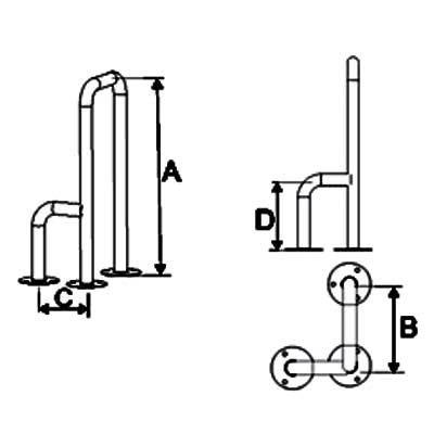 Uchwyty do WC Montowane do Podłogi fi 32mm Prawe/Lewe - Różne Rodzaje