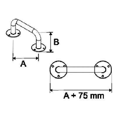 Uchwyty Łazienkowe Proste fi 25mm INOX - Różne Rodzaje