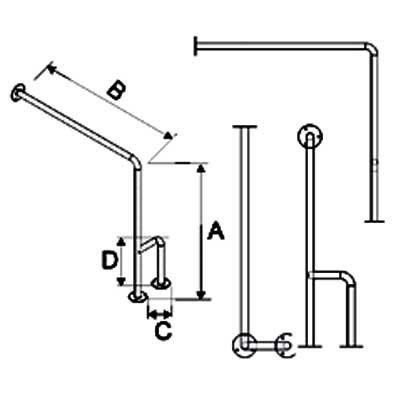 Uchwyt do WC Ściana-Podłoga Lewe/Prawe fi 25mm - Różne Rodzaje