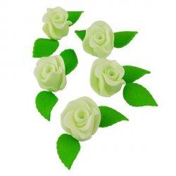 Zestaw RÓŻA DUŻA ZIELONA z listkami - kwiaty cukrowe