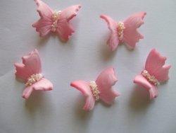 Motylki cukrowe średnie różowe 14 x 5 szt.