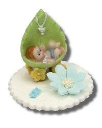 Hokus - Chłopczyk w kołysce z liścia - dekoracja na chrzest