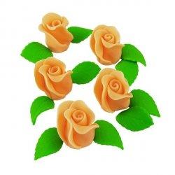 Zestaw RÓŻA DUŻA HERBACIANA z listkami - kwiaty cukrowe