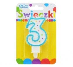 Świeczka urodzinowa na tort z kolorową obwódką i kropeczkami - cyfra 3