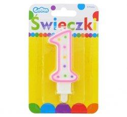 Świeczka urodzinowa na tort z kolorową obwódką i kropeczkami - cyfra 1
