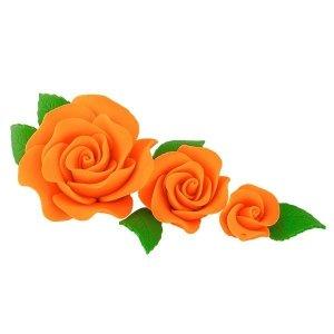 Zestaw cukrowe kwiaty na tort 3 RÓŻE z listkami POMARAŃCZOWE