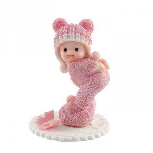 Dziecko na podusi - różowe - Figurka na tort