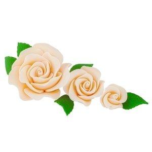 Zestaw cukrowe kwiaty na tort 3 RÓŻE z listkami ECRU