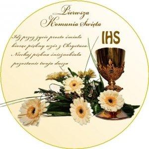 Hokus - opłatek na tort komunijny okrągły Kwiaty - 12 szt