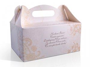 Ozdobne pudełko na ciasto weselne 10 szt. złote II