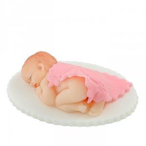 Hokus - Cukrowy Bobas pod kołderką różowy - dekoracja tortu na chrzest opak.6 szt.