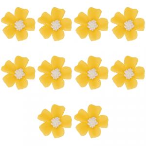 Kwiatki cukrowe na tort NIEZAPOMINAJKA (8x10szt) żółte