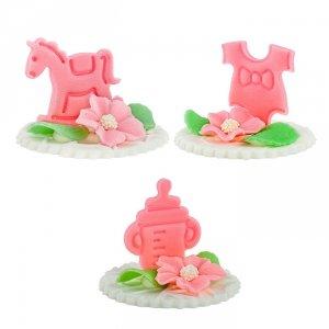 Hokus - Dekoracja cukrowa na tort - chrzest, baby shower - różowa