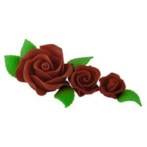 Zestaw cukrowe kwiaty na tort 3 RÓŻE z listkami CZEKOLADOWE
