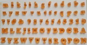 Alfabet do odciskania napisów