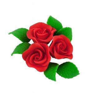 Zestaw cukrowe kwiaty na tort 3 RÓŻE MINI MAX z listkami CZERWONY