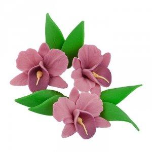 Zestaw cukrowe kwiaty na tort STORCZYK z listkami WRZOSOWY
