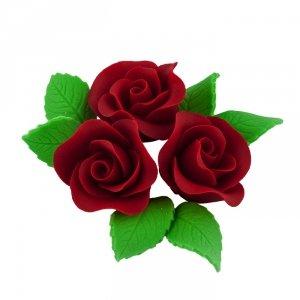 Zestaw cukrowe kwiaty na tort 3 RÓŻE MINI MAX z listkami BORDOWY
