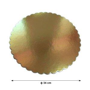 Podkład pod tort gruby złoty karbowany śr. 36cm