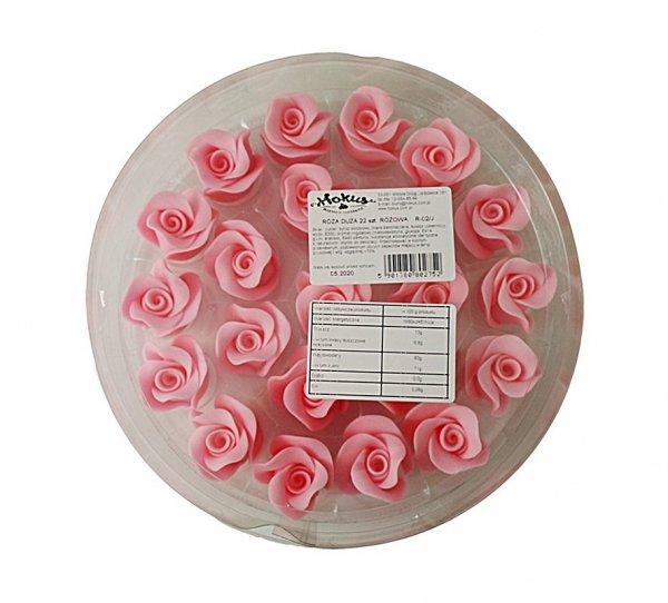 Róża duża 22 szt. różowa