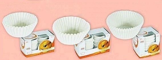 Papilotki - foremki do mufinek białe fi 50 mm 200 szt.