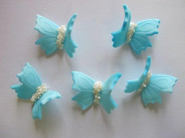 Motylki cukrowe średnie niebieskie 14 x 5 szt.