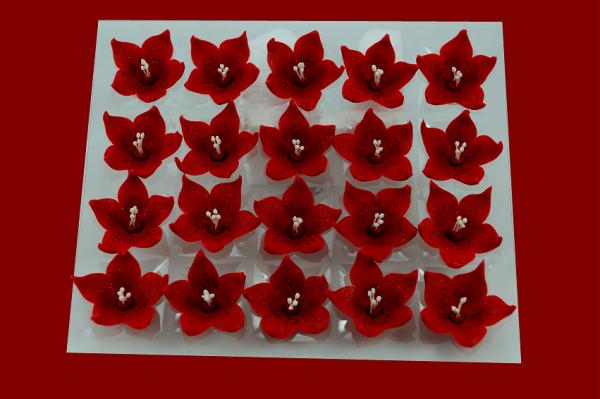 Lilijka czerwona - kwiaty cukrowe - 20 szt.