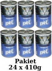 Pet z jagnięciną Pakiet puzek dla kota 24x410g
