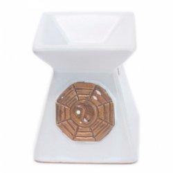 Kwadratowy Kominek Ceramiczny Yin Yang Biały