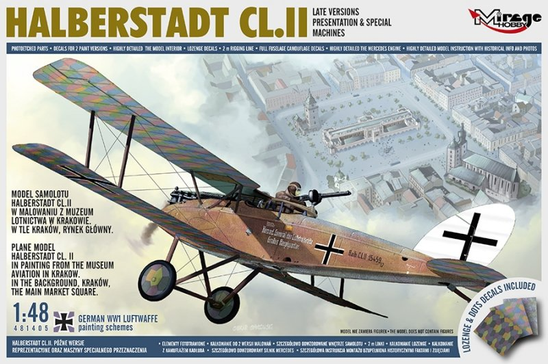Model Samolotu Halberstadt CL.II w malowaniu z Muzeum Lotnictwa w Krakowie w tle Kraków, Rynek Główny