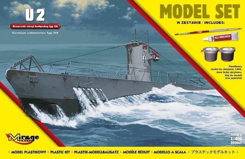 Mirage 840065 1/400 [MODEL SET]  'U2'  (Niemiecki Okręt Podwodny z II WŚ typ IIA)