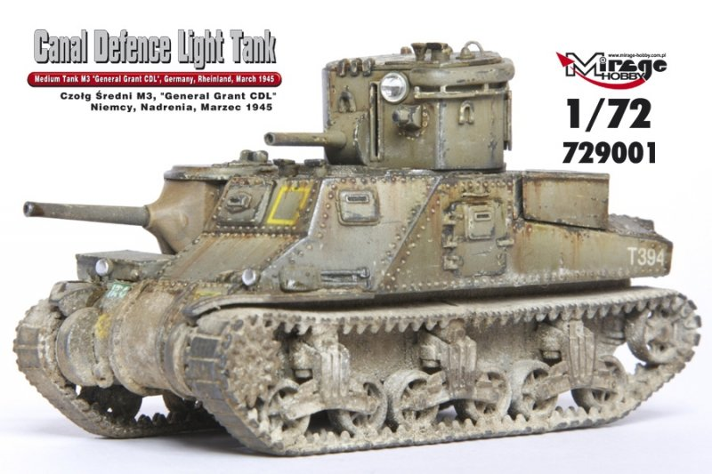 Mirage 729001 1/72 M3 'General Grant' - 'Canal Defence Light' Medium Tank , late version, Germany, Rheinland, March 1945