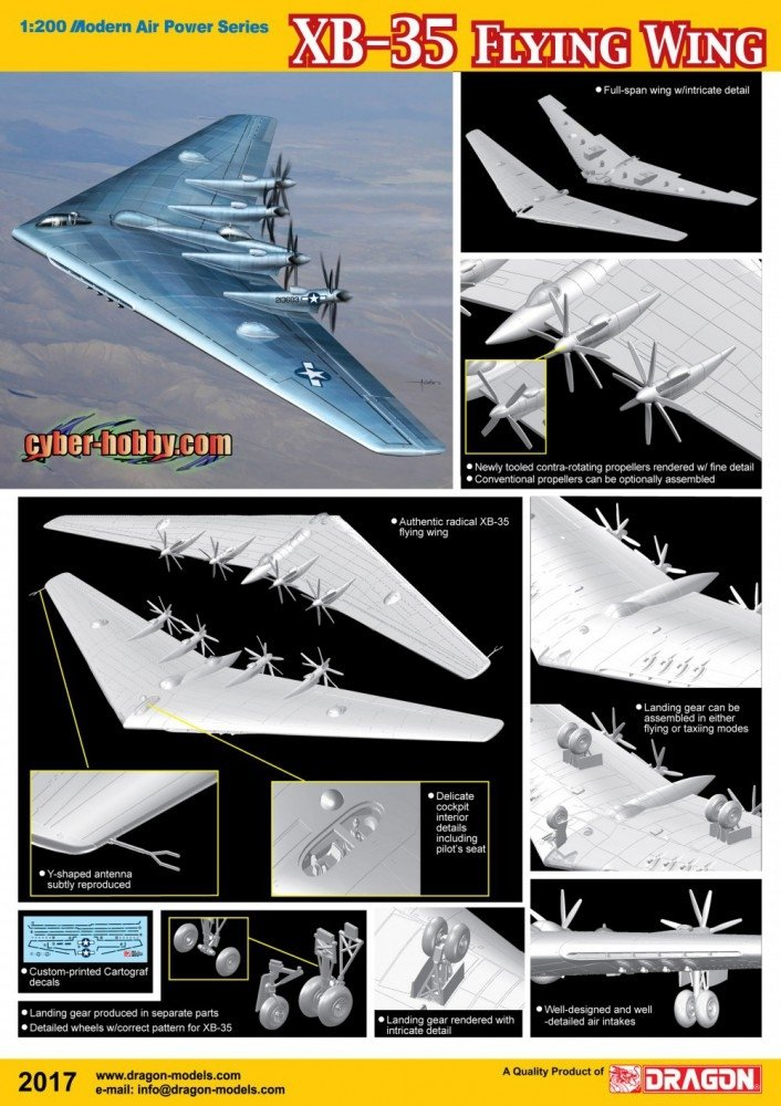 Dragon CH 02017 1/200 XB-35 USAF Flying Wing, Experimental Heavy Bomber