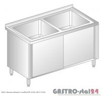 Stół z dwoma zlewami i szafką DM 3226 szerokość: 600 mm (1000x600x850)