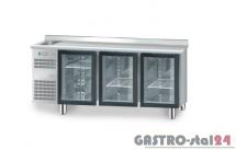 Stół chłodniczy z drzwiami przeszklonymi z zlewozmywakiem z płytą wierzchnią nierdzewną DM 91006 1825x600x850