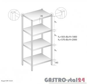 Regał magazynowy z półkami pełnymi DM 3319 szerokość: 600 mm, wysokość: 2000 mm (600x600x2000)