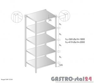 Regał magazynowy DM 3320 szerokość: 700 mm, wysokość: 2000 mm (600x700x2000)