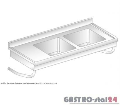 Stół z dwoma zlewami podwieszany DM 3271 szerokość: 600 mm (1200x600x375)