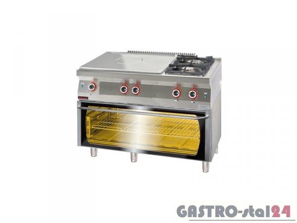 Kuchnia gazowa z płytą grzewczą z piekarnikiem elektrycznym moduł 3x GN1/1 700.KG-2/I-800/PE-3, 1200x700x900