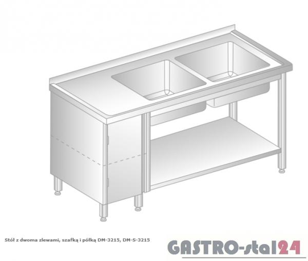 Stół z dwoma zlewami, szafką i półką DM 3215 szerokość: 700 mm (1400x700x850)