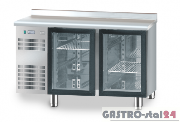 Stół chłodniczy z drzwiami przeszklonymi bez płyty wierzchniej DM 94005 1325x600x850