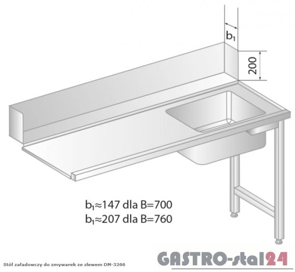 Stół załadowczy do zmywarek ze zlewem DM 3266 szerokość: 760 mm (1000x760x850)