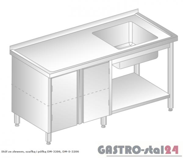 Stół ze zlewem, szafką i półką DM 3206 szerokość: 700 mm (1400x700x850)